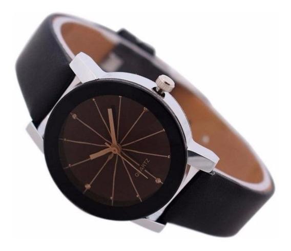 Relógio Diamantes Pedras Brilhante Pulseira Couro 4cm