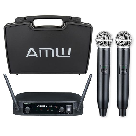 Microfone Sem Fio Duplo De Mão Uhf Amw Au12 Pro C/ Estojo !