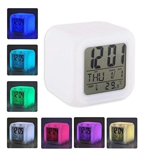 Relógio Digital Despertador Cubo Colorido 7 Led Luz Alarme
