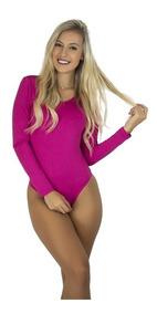 Body Feminino Collant Manga Longa Costa Nua Decote Blusa