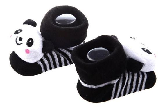 Sapatinho Panda Bebê Neném Pantufa Meia Quente Antiderapante