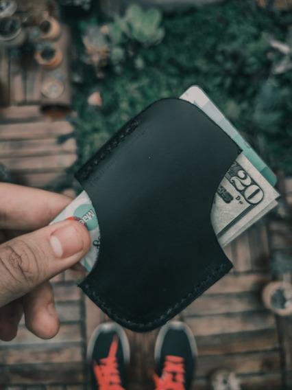 Tarjetero Wallet De Cuero Negro Caballero