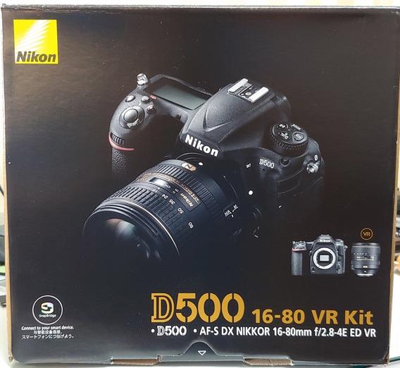 Câmera Nikon D500 Dx Com 16-80mm F/2.8-4e Ed Vr Desc À Vista