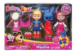 Muñeca Masha Y El Oso Set De 3 Trajes