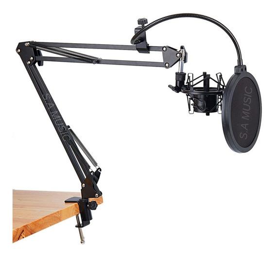 Pedestal Suporte Articulado Microfone + Aranha + Pop Filter