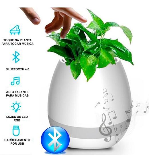 Vaso Musical Inteligente Caixa Som Bluetooth Luminária Led
