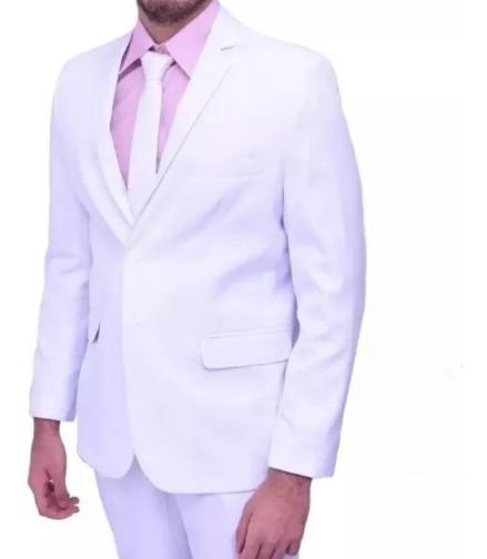 Terno Branco Micro Fibra Carbadine Slim Masculino Moda 2020