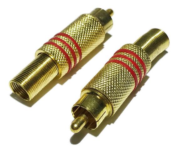 Conector Rca Plug Tipo Macho Dourado Com Mola Metal