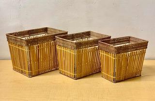 Canasta Set 3 Bambú Y Mimbre
