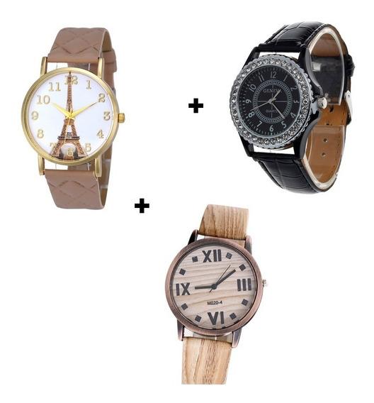 Kit 3 Relógios Diferentes Lindos Preço De Atacado Promoção
