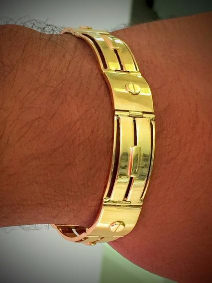 Pulseira Em Ouro 18k-26.6 Gr. Maciça, Comp. 20.5cm.
