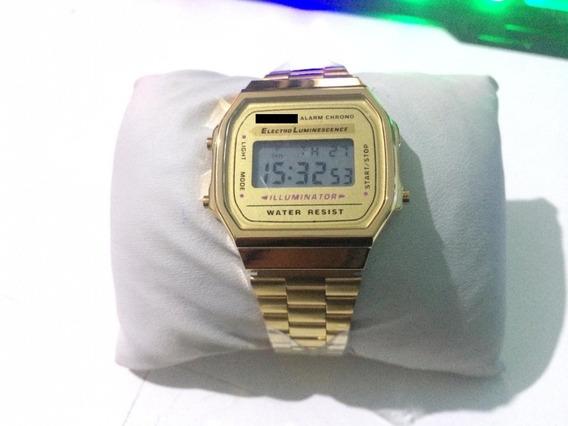 Relógio Pulso Dourado Vintage Unisex Retrô Original Vintage
