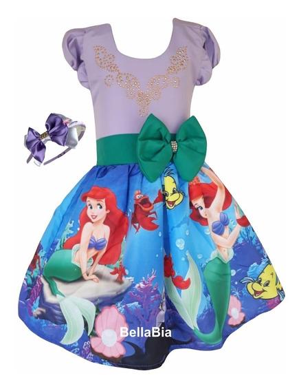Vestido Ariel Pequena Sereia +tiara Brinde
