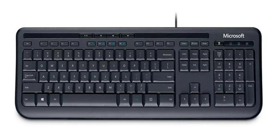 Teclado Microsoft 600 QWERTY português brasil de cor preto