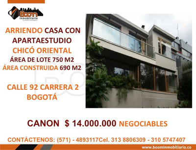 **arriendo Casa 690 M2 Chico Oriental