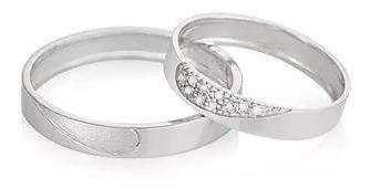 Par De Alianças Ouro Branco Diamantes Vivara One Love