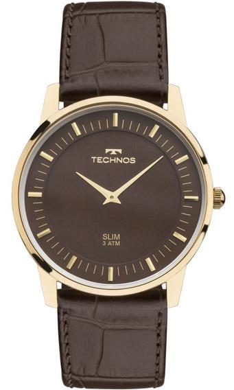 Relógio Technos Masculino Slim Gl20hj/2m Dourado Couro Marrom