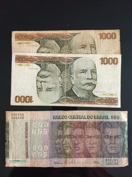 2 Cédulas Antigas Cruzeiro 500 E 1.000 Barao Antiga 1978