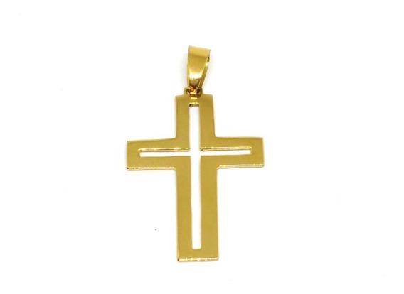 Pingente Cruz Em Ouro 18k 750 5 Gramas Maciço