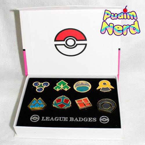 Pokemon Anime Insignias Badge Broche - 8 Insignias Com Caixa