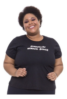 T-shirt Plus Size Wonder Size Estampa Normal Bodies Preta