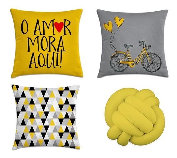 Kit 3 Capas De Almofadas Amarelo E Cinza + 1 Nó