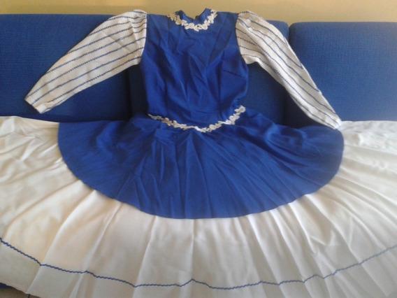 Vestido De Prenda Poliéster Azul Branco Sibre Saia 40