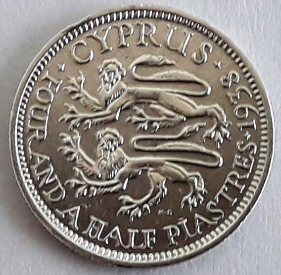 Chipre Moneda De Plata 4 1/2 Piastres Del Año 1938 Excelente