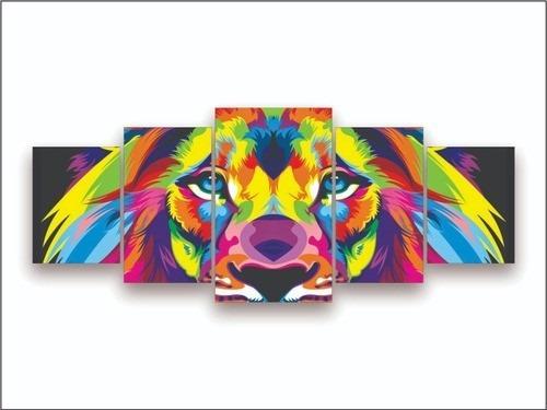 Quadro Mosaico 5 Partes Leão