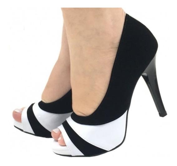 Sapato Peep Toe Meia Pata Salto Alto Fino Preto Branco Pb Nf