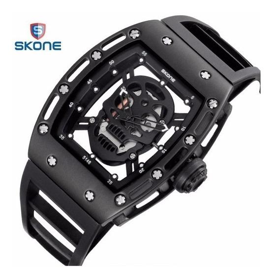 Relógio Skone Skull Black Caveira Preta