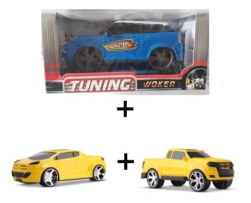 Combo 1 Carrinho Monster + 1 Pick Up Race + 1 Pick Fury.