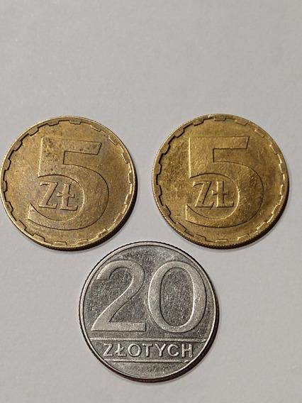 Lote Monedas De Polonia,5 Y 20, Zlotich