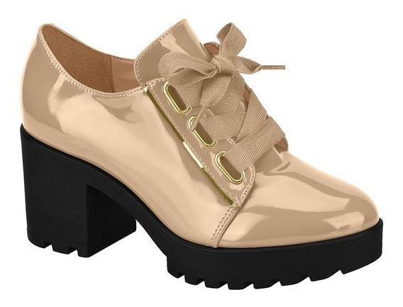 Sapato Oxford Feminino Vizzano Tratorado Verniz Bege Salto