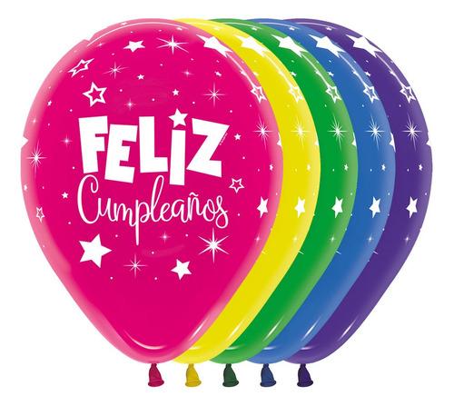 Globo Feliz Cumpleaños Fantasia R-12 Espejo X 8 Und