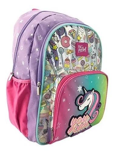Mochila Espalda Escolar Unicornio Magical Luz Big Pocket 17