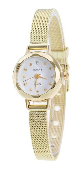 Relógio Feminino Dourado Fashion Gold Luxo Quartzo Promoção