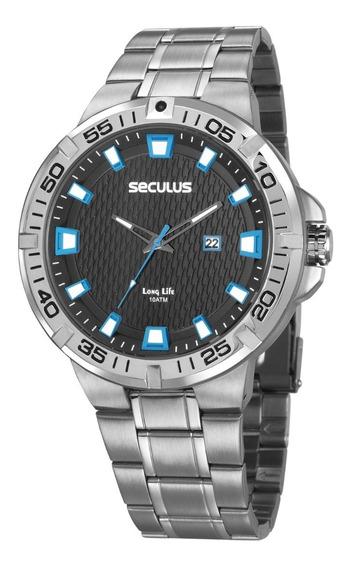 Relógio Seculus Masculino Analógico Prata Garantia 2 Anos