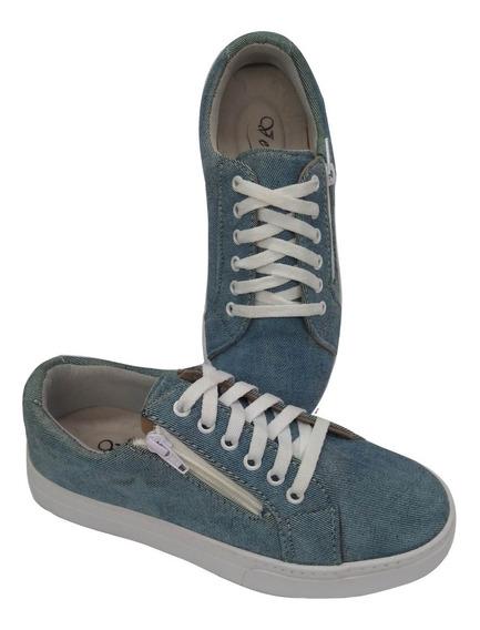 Tenis Feminino Star Jeans Azul Claro Ziper Lateral 318