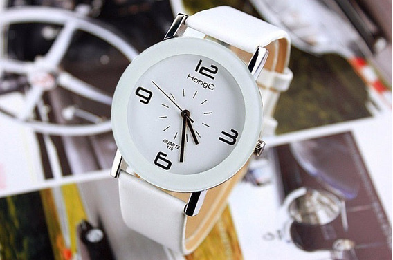 Relógio Feminino Quartzo Branco Redondo