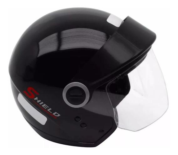 Capacete Moto Ebf Shield Aberto Preto Fosco Ou Brilhante