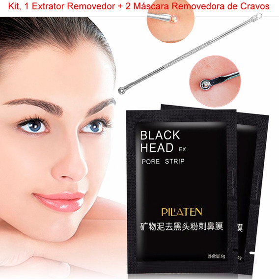 Extrator + 2 Máscara Preta Removedora De Cravos Blackhead