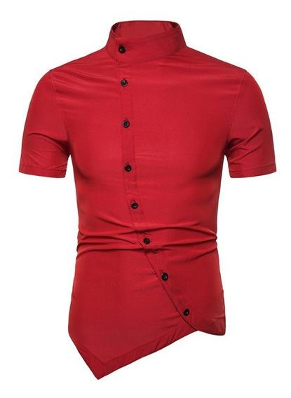 Botón Arriba Corto Mangas Camisa
