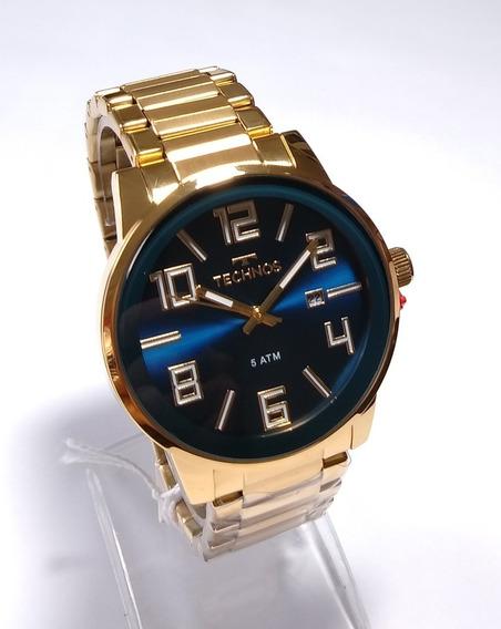 Relógio Masculino Dourado Technos Golf Original 2115kqu/4a.