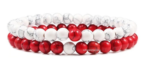 Pulseras De Distancia Turquesa Roja + Howlita - Dos Pulseras