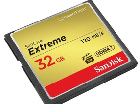 Cartão De Memória 32gb/125mbs/sandisk Compact Flash Extreme