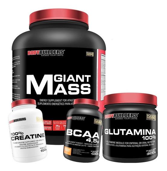 Giant Mass 3kg + Creatina 100g + Glutamina 300g + Bcaa 100g