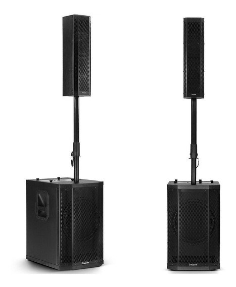 Kit 2 Caixa De Som Torre Amplificado Grt12 Ativo 1000wrms De Potência + Bluetooth + Usb Atende Até 400 Pessoas - Frahm