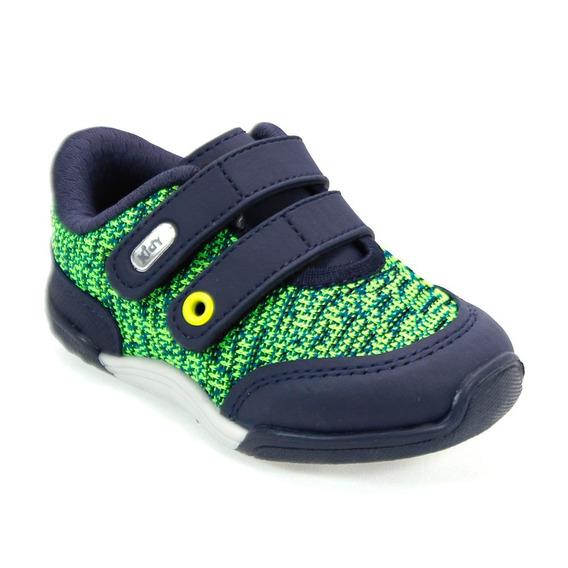 Tênis Menino Colors Neon Azul Marinho/ Verde Kidy