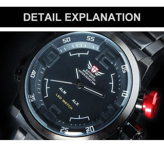 Relógio Original Epozz 3atm Quartz Digital Aço Inoxidável